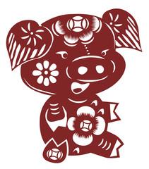Chinese cartoon pig paper cut