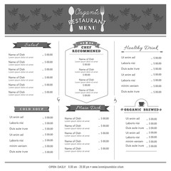 Restaurant Menu Design Template layout Organic food