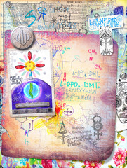 Alchemic and mystic collage,graffiti and patchwork series
