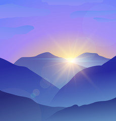 Abstract blue mountains landscape with lens flare nature