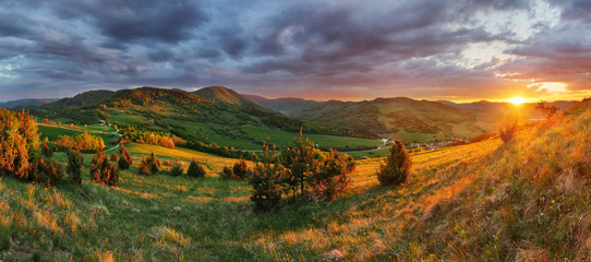 Slovakia Mountain meadow sunset, panorama