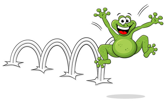 hüpfender Cartoon Frosch auf weißem Hintergrund