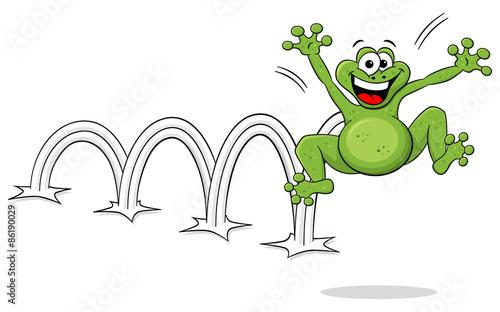 Hüpfender Cartoon Frosch Auf Weißem Hintergrund Stockfotos Und