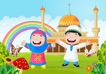 Cartoon happy little kid with rainbow
