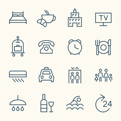 Hotel services icon set