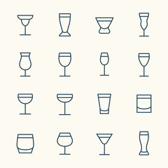 Alcohol beverages icon set