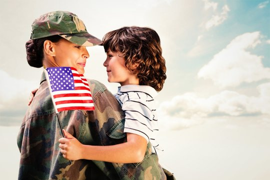 Composite image of solider reunited with son