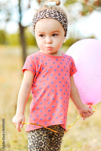 Cute Baby Girl 2 3 Year Old Playing With Balloon Outdoors Stock