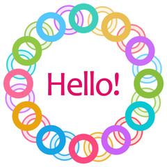 Hello Text Colorful Rings Circular