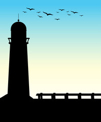 Silhouette lighthouse
