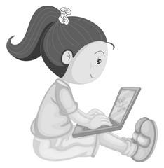 Girl and computer