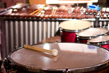 Percussion instruments in a chamber hall. Drums. Marimba. Bass