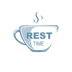 Logo template. Cup with hot drink. From a cup there is steam