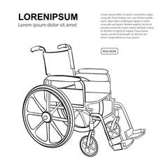 Wheelchair. Vector hand drawn illustration