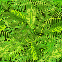Seamless pattern with exotic tropical leaves vector illustration