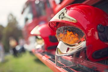 Firefighter's helmet - fire reflection Fireman helmet, reflection of the fire in the visor