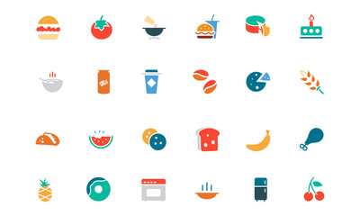 Food and Drinks Vector Colored Icons 3