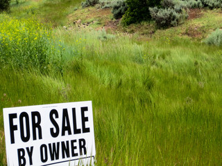 "Grassland posted with a ""For Sale by Owner"" sign"