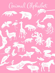 Animal alphabet poster for children. Animals silhouettes with