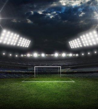 Goal, soccer, stadium.