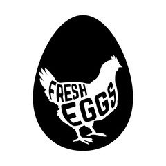 Egg with concept chicken silhouette inside on white background