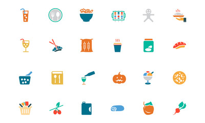 Food and Drinks Vector Colored Icons 19