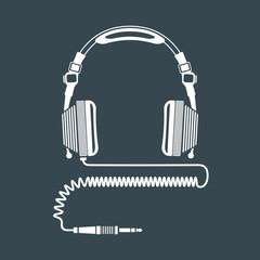 solid color big dj headphones device illustration.