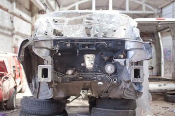 Silver car repair body kit
