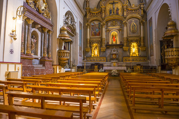 Interior of the church of San Lorenzo in Pamplona, Spain