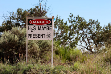 Danger, H2S (hydrogen sulfide) may be present, a poisonous gas.  Taken in New Mexico