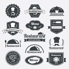 Retro restaurant vintage Insignias or logotypes set