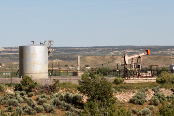 Oil pumping site in rural New Mexico