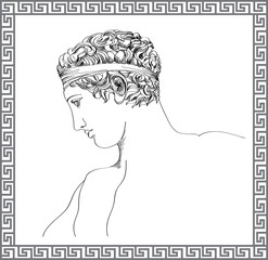 Greek sculpture. Vector hand drawn sketch.