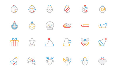 Christmas Colored Outline Icons 2