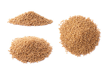 Pile of brown mustard seeds isolated