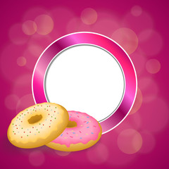 Background abstract pink yellow baked donut glazed ring circle frame illustration vector