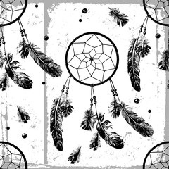 seamless pattern with dream catchers and feathers