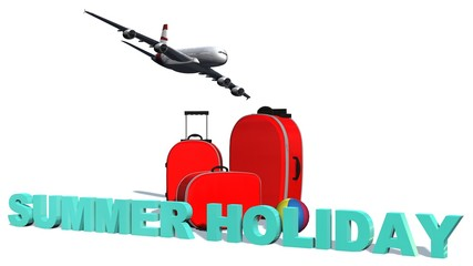 Summer Holiday - 3D Word before travel suitcase isolated