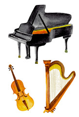 classical instruments in watercolor. vector illustration