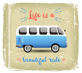 Summer time background with camper van