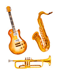 guitar, saxophone and trumpet, watercolor vector