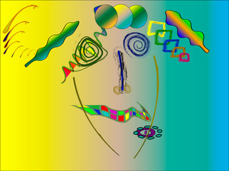 Kandinsky style abstract, marilyn monroe.