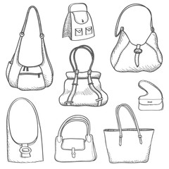 Handbags set. Fashion accessory. Bag silhouettes. Female purse collection.