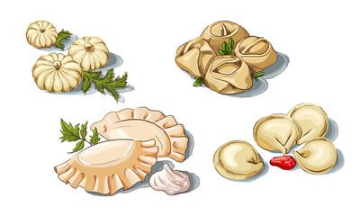 Meat dumplings (russian pelmeni), vareniki, manti, khinkali
