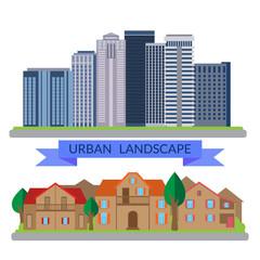 Flat illustrations urban and village landscapes