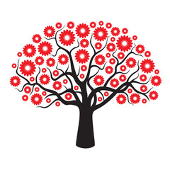 Black Tree and Red Geometric Flowers