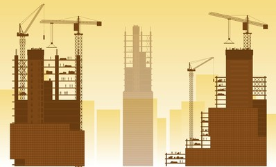 Construction site, building houses