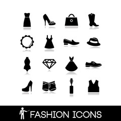 Fashion icons - Clothes vector set 1