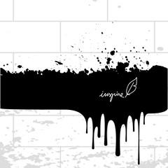 Ink splash, paint splatter on brick wall, spill