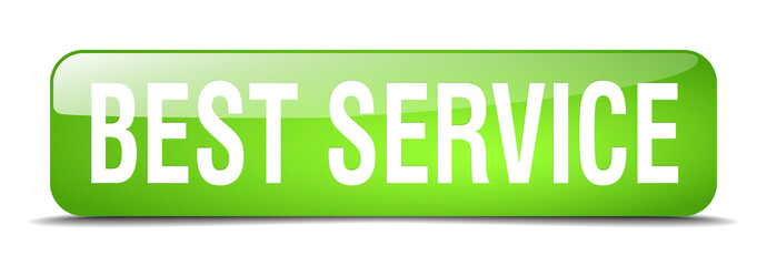 best service green square 3d realistic isolated web button